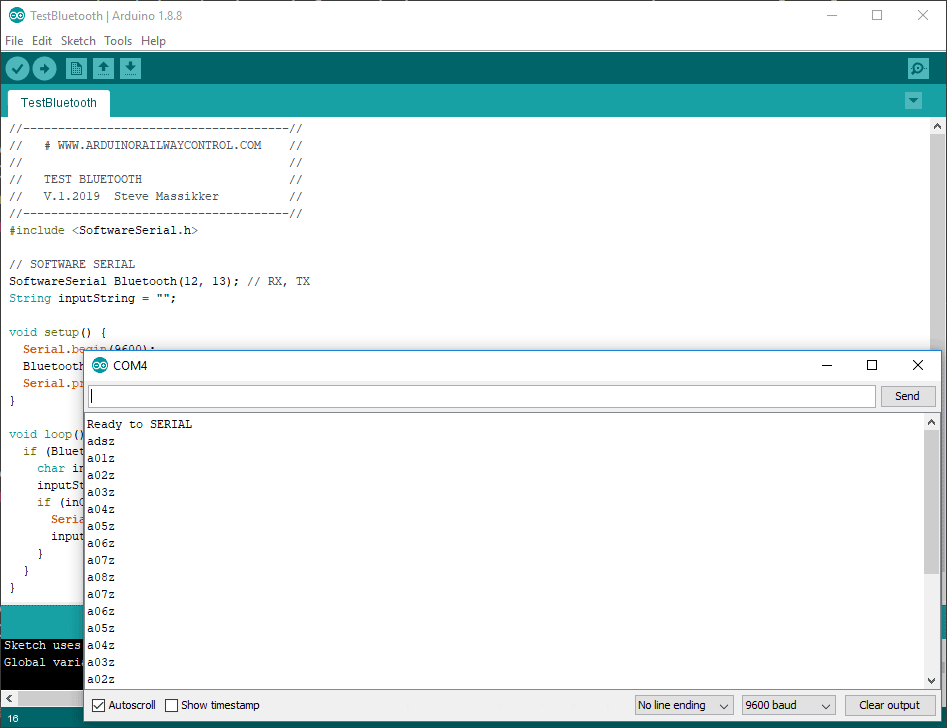 Test Bluetooth connection using Arduino IDE