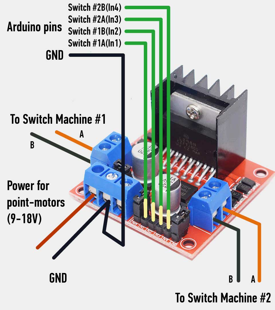 Connect L298 to switch-machines